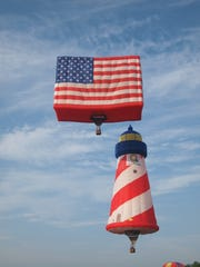 One of the most popular balloons every year is the PNC Salutes America special shaped American Flag Balloon, alongside this year's signature balloon, the QuickChek Flighthouse flying lighthouse.