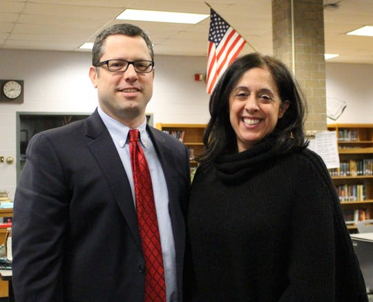 Warren Township Schools Board of Education President David Brezee and Vice President Lisa DiMaggio during a Warren Township Schools Board of Education meeting.