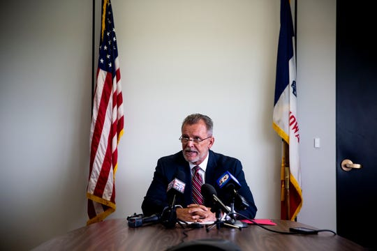 Michael Randol, Iowa Medicaid Director, answers questions from the press during a news conference following the state's agreement to 8.6% increases in pay to Amerigroup and Iowa Total Care, the two national insurers managing IowaÕs Medicaid program, on Thursday, July 11, 2019, in Des Moines.