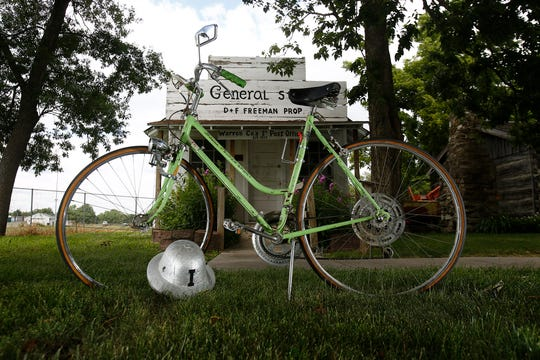 Indianola resident Clarence Pickard was 83 when he rode the entire first RAGBRAI in 1973 on this bicycle with this silver pith helmet. Pickard went on to become a RAGBRAI legend. He passed away in 1982. Both the bicycle and helmet are on display at the Warren County Historical Museum in Indianola.