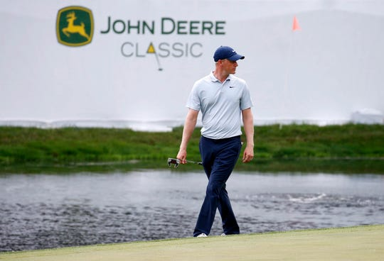 Jul 11, 2019; Silvis, IL, USA; Adam Long waits to putt on the 18th hole during the first round of the John Deere Classic golf tournament at TPC Deere Run. Mandatory Credit: Brian Spurlock-USA TODAY Sports