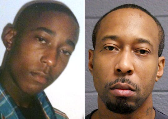 Left: James Chad-Lewis Clay at age 16, in 1997, according to his mother who provided the photo. Right: James Chad-Lewis Clay shown in a December 2017 Michigan Department of Corrections photo. In 2017, he was sentenced to 25-50 years in prison for a 1997 rape that he said he did not commit. Clay was exonerated in 2019.