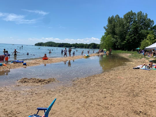 Haserot Beach on the Old Mission Peninsula on July 4, 2019. The high Lake Michigan water level submerged a significant section of the beach.
