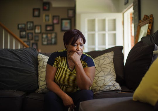 """Ethel """"Marie"""" Lyons talks her son James Clay, who is in prison for a 1997 sexual assault he maintains he did not commit, at her home in Roseville on Friday, June 7, 2019. A Wayne County jury convicted Clay in 2017 and he is serving a 25-50 years sentence. Lyons hired a private investigator to look into the case."""