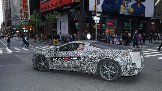 After denying the existence of the mid-engine Corvette C8 for years, the automaker drove a camouflaged one through Times Square in April.