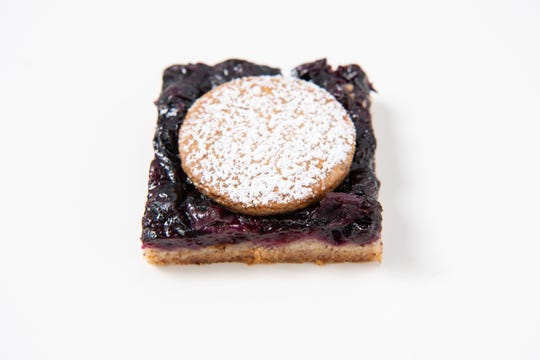Blueberry Bars with a nutty press-in crust.