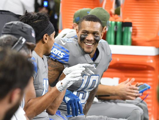 """Wide receiver Kenny Golladay is part of a Lions' offensive """"arsenal"""" ranked 18th in the NFL by ESPN."""