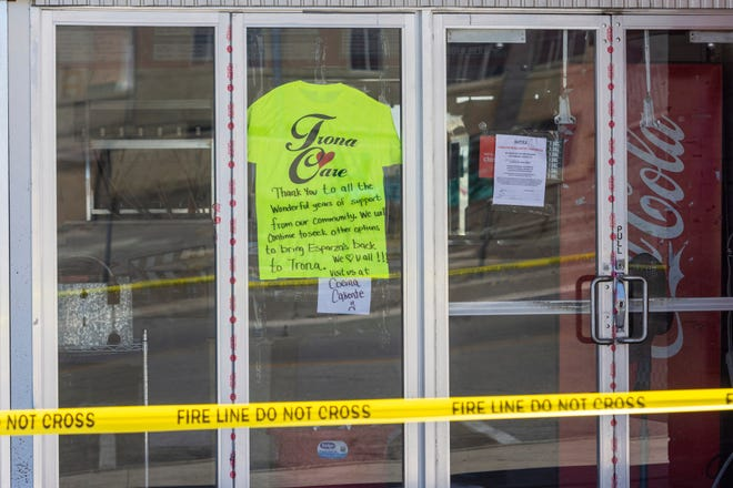 A thank you note was written in the window of Esparza's Restaurant in Trona, Calif. on Wednesday July 10, 2019. Eight buildings, including Esparza's were deemed unfit for occupancy after two earthquakes struck the area in successive days.