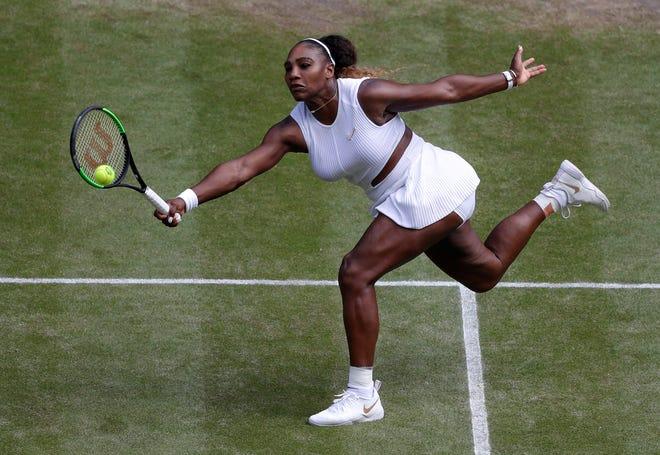 Serena Williams returns to Barbora Strycova on Thursday.