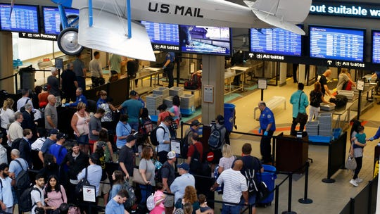 The Transportation Security Administration said Thursday, July 11, 2019, that its officers screened 2,795,014 passengers and airline crew members on Sunday, July 7, barely beating a record set over the Memorial Day weekend.