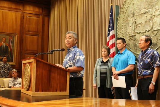 Hawaii Gov. David Ige speaks during a news conference about the construction of a new Big Island telescope, Wednesday, July 10, 2019 in Honolulu.