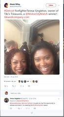 Twitter post from Detroit Mayor Mike Duggan's Chief of Staff Alexis Wiley with Teresa Singleton, a Detroit firefighter who won a cash award in 2016 under the Motor City Match program.