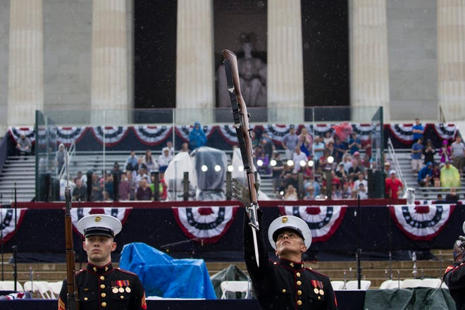 The U.S. Marine Corps Silent Drill Platoon performs during an Independence Day celebration in front of the Lincoln Memorial, Thursday, July 4, 2019, in Washington.