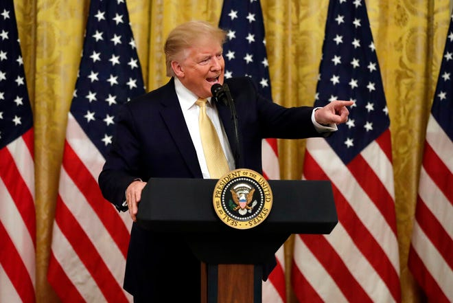 """President Donald Trump speaks during the """"Presidential Social Media Summit"""" in the East Room of the White House, Thursday, July 11, 2019, in Washington."""