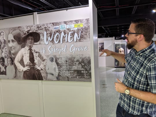 "Asociate Curator Kevin Moore of the Hayes Presidential Museums leads media on a tour of the new ""Women of Spiegel Grove"" exhibit."