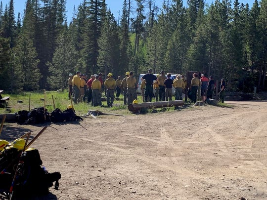Firefighters at the morning briefing near the Beaver Fire.