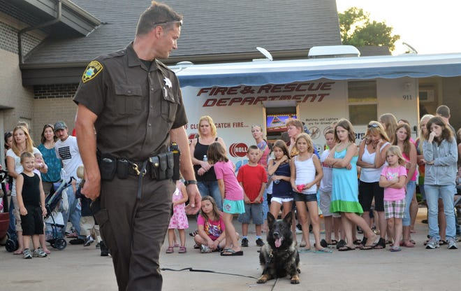 In this photo from National Night Out in Oconto in August 2012, then Oconto County deputy -- and now Sheriff -- Todd Skarban gave a demonstration of police dog skills with his dog at the time, Dexter.