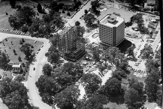 The University's growing East campus, a $2 million high rise dormitory, a $1.1 million student cafeteria, a $678,000 health center, a $1.8 million science building, and nearby $3.5 million Littlejohn Coliseum construction in 1967. Photo by Independent Mail photographer Kayle Turner in a plane flown by Carolina Aero Service's Lee Blume.
