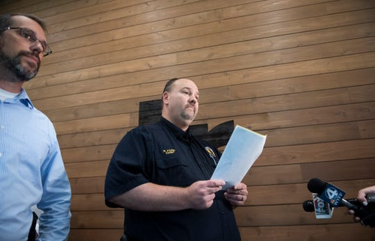 Chief Benjamin Ford (center) talks to media during a press conference at City Hall in Travelers Rest Thursday, July 11, 2019.