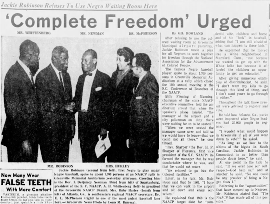 Baseball legend Jackie Robinson visited Greenville in October 1959 for a speaking engagement with the South Carolina branch of the NAACP. He's picture here at the second from left.