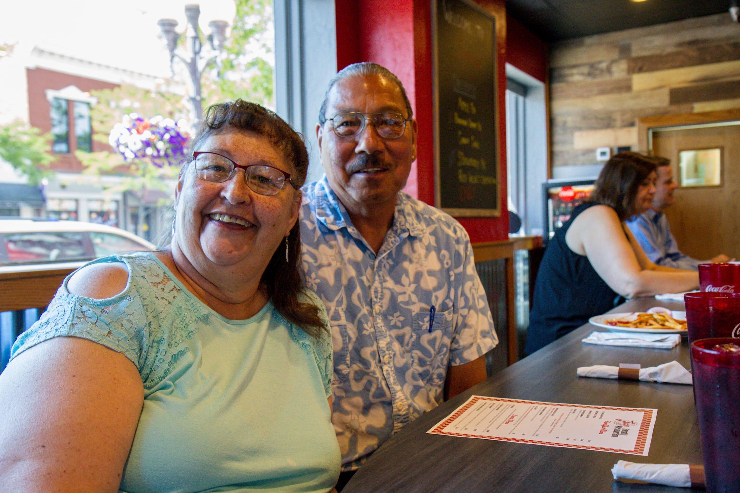 Denise and Raymond Montoya enjoying lunch at Tracy's.
