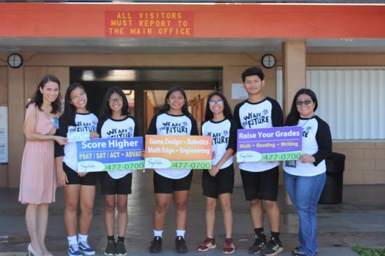 Untalan Middle School was presented with an additional donation for their participation in the 2019 Lip-Dub video contest. Pictured from left: Principal Agnes Guerrero, SBA Historian Patrice Clemente, SBA Treasurer Diana Silang, SBA President Zoey Indalecio, SBA Vice President Trixia Nierva, SBA Sgt.-At-Arms Peter Valencia, and SBA Advisor Rozalyn Pama.