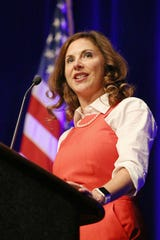 State Rep. Christina Hale addresses the crowd following her nomination for lieutenant governor during the 2016 Indiana Democratic state convention at the Indiana Convention Center, Indianapolis, Saturday, June 18, 2016.