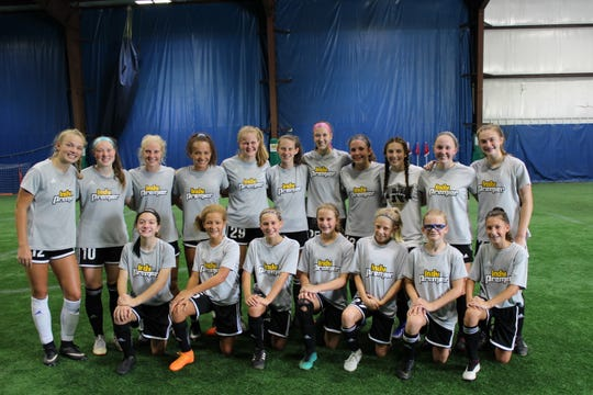 Kate, bottom row, third from right, plays for Indy Premier Soccer Club. She considers the USWNT one of the most hard-working teams in the sport.