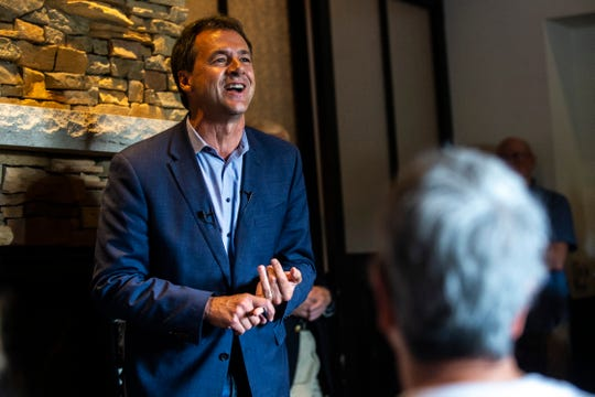 Montana Gov. Steve Bullock speaks during a meet and greet, Wednesday, July 10, 2019, at BlackStone in Iowa City, Iowa.
