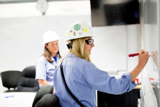 "Natalie Birt works with her mentor Arial Ruble at Tate & Lyle in Loudon, Tennessee on Thursday, July 11, 2019. Ruble was recently recognized by Putman Media in its ""Most Influential Women in Manufacturing Class of 2019."""