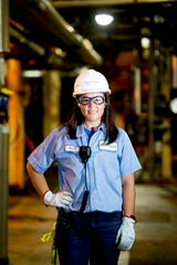 "Arial Ruble poses for a photo inside the corn syrup processing plant at Tate & Lyle in Loudon, Tennessee on Thursday, July 11, 2019. Ruble was recently recognized by Putman Media in its ""Most Influential Women in Manufacturing Class of 2019."""