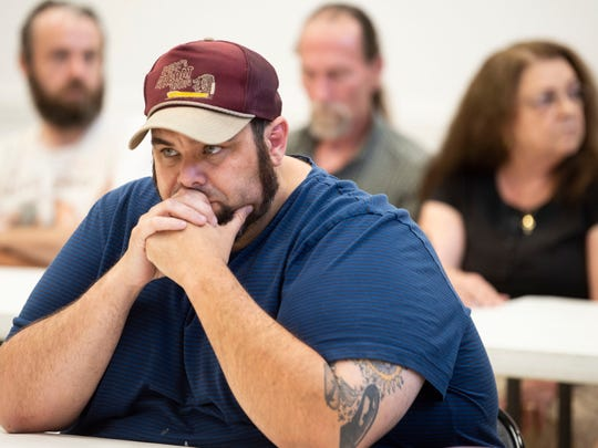 Adam Watson attends a community meeting on Tuesday, July 9, 2019 for Anderson County residents who are concerned about TVA's plans for the coal ash produced at the Bull Run steam plan.