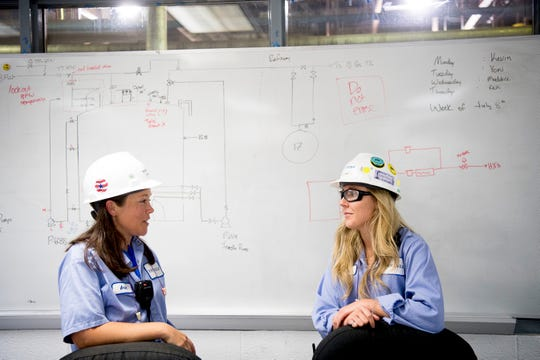 "Arial Ruble speaks with her mentee Natalie Birt at Tate & Lyle in Loudon, Tennessee on Thursday, July 11, 2019. Ruble was recently recognized by Putman Media in its ""Most Influential Women in Manufacturing Class of 2019."""