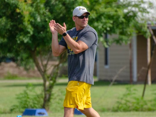 Cecilia football coach Dennis Skains is shown during a recent practice.