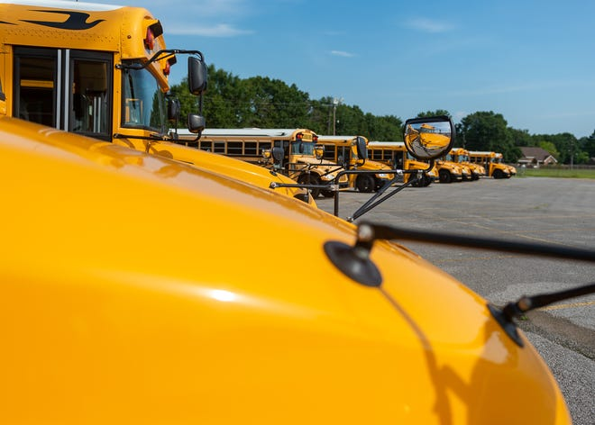 Lafayette Parish School Buses.  Thursday, July 11, 2019.