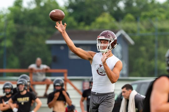 Vermilion Catholic quarterback Drew Lege is shown at the QuickSlants 7-on-7 tournament in July.