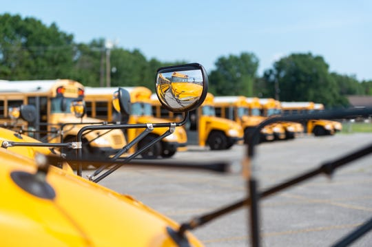 Lafayette Parish School Buses.  Thursday, July 11, 2019.