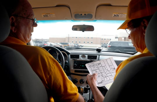 Ronald Walker, left, and William Pohl look over a map of Fairfield County as they try to decide what sectors to patrol Thursday morning, July 11, 2019, at the Fairfield County Sheriff's Office in Lancaster. Pohl and Walker have been volunteers with the program for about three years. Community Watch members patrol county roads, direct traffic at crash scenes and help people unlock cars they've locked themselves out of.