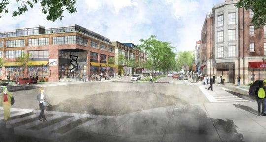 A rendering of the west corner of Okemos Road and Hamilton Road.