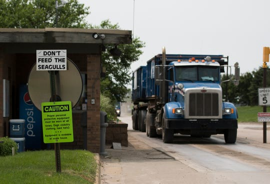 Signage asking guests not to feed seagulls seen outside the Ottawa County Farms Landfill in Coopersville, Michigan, Monday, July 8, 2019.