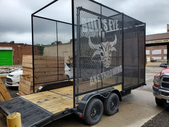 Lansing's Bull's Eye Axe Throwing now offers a mobile throwing unit that can be rented out for parties and other special events.