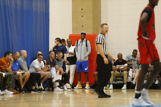 Memphis basketball coach Penny Hardaway laughs during a game at the Peach Jam on Thursday.