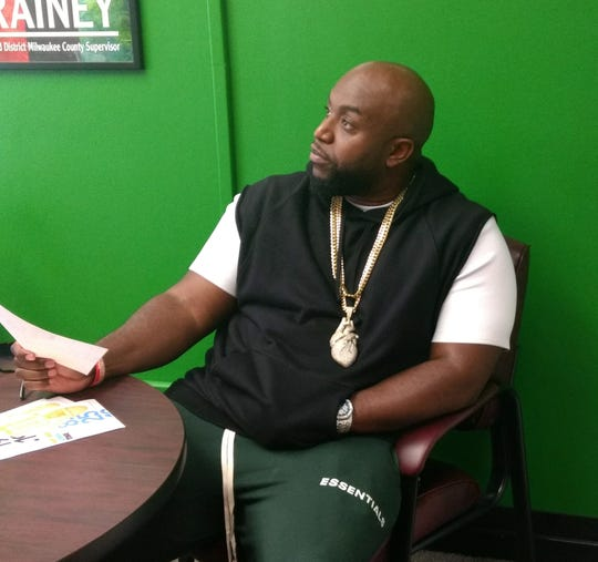 Rico Love sits in Ald. Khalif Rainey's office before a press event on the We Love Music Conference.