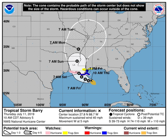 Projected track for Tropical Storm Barry as of 10 a.m. Thursday.