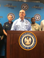 Gov. John Bel Edwards conducts a press conference Thursday about Tropical Storm Barry.