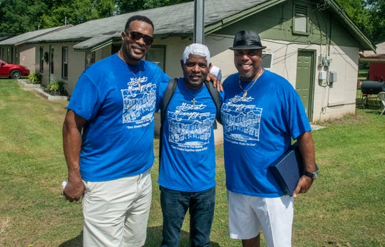 "Longtime friends, from left, Greg Penick, Columbus Cook and Donnie Lewis were the ""Little Rascals"" of their Wetumpka neighborhood back in the '70s. They gathered for a community reunion on Saturday, July 6, 2019."