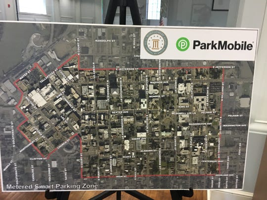 A map containing the smart parking spots in the downtown area