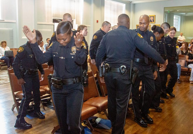 Twelve new officers, the first Montgomery police recruit class of 2019, were sworn in during a ceremony at City Hall.
