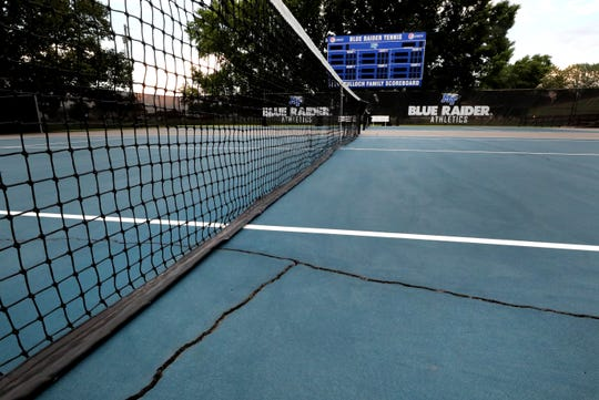 Weathered and cracked courts have forced MTSU's tennis teams to now play over at the Adams Tennis Complex on Wednesday, July 10, 2019.
