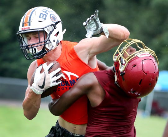 Blackman's Conner Murphy runs the ball during Riverdale's Tate Mathews 7-on-7 Tournament on Thursday, July 11, 2019.